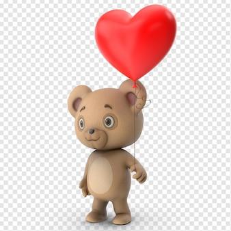 3d valentines cute teddy bear side view