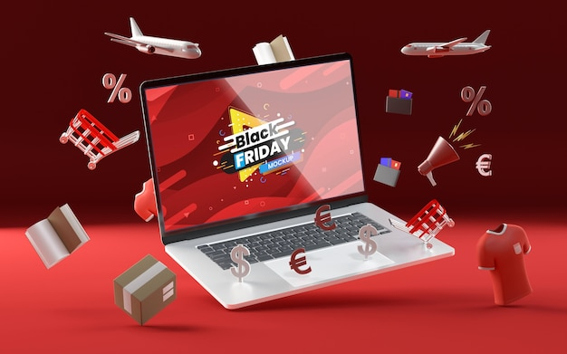 3d various sale objects mock-up red background