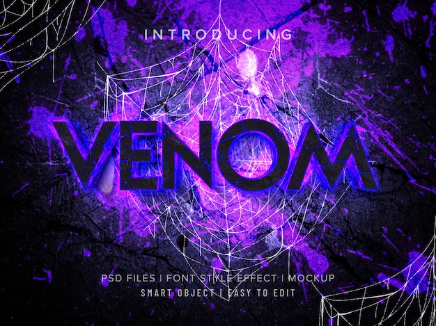 3d venomフォントスタイルエフェクトモックアップ