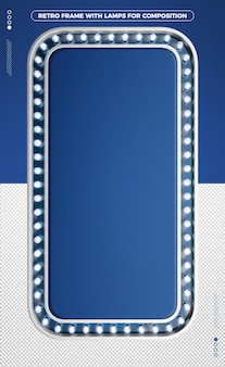 3d vertical retro frame of blue led design