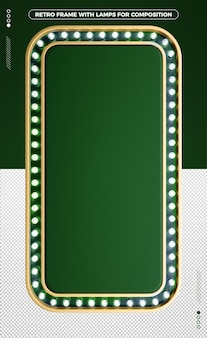 3d vertical retro frame of green led design