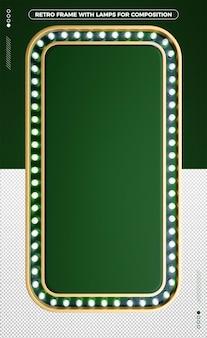 緑のledデザインの3d垂直レトロフレーム