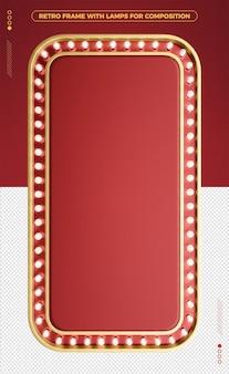 3d vertical retro frame of red led design