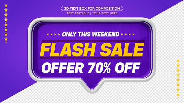 3d violet flash sale banner with 70% discount