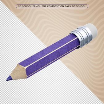 3d violet pencil for back to school