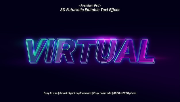 3d virtual text effect template