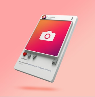 3d visualization of instagram post mockup