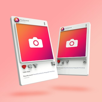 3d visualization of instagram post mockups