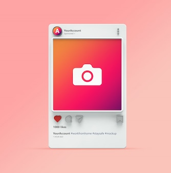 Instagram post mockup의 3d 시각화