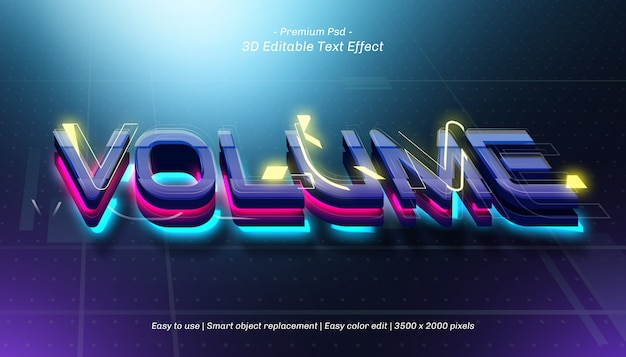 3d volume editable text effect