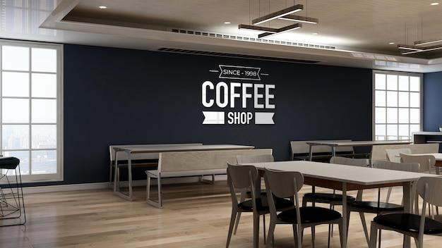 3d wall logo mockup in coffee shop restaurant Premium Psd