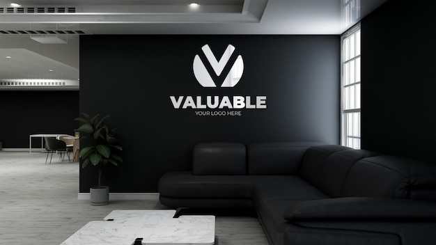 3d wall logo mockup in the coffee shop with sofa