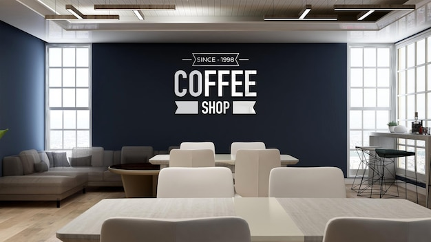 3d wall logo mockup in coffee shop with sofa