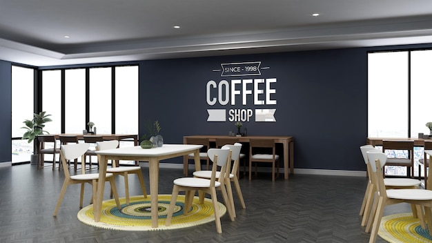 3d wall logo mockup in the coffee shop