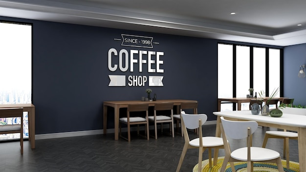 3d wall logo mockup in the coffee shop Premium Psd