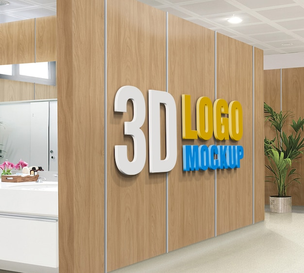 3d wall logo mockup, free 3d office wall sign logo mockup psd, 3d wooden logo mockup, office board room logo mockup