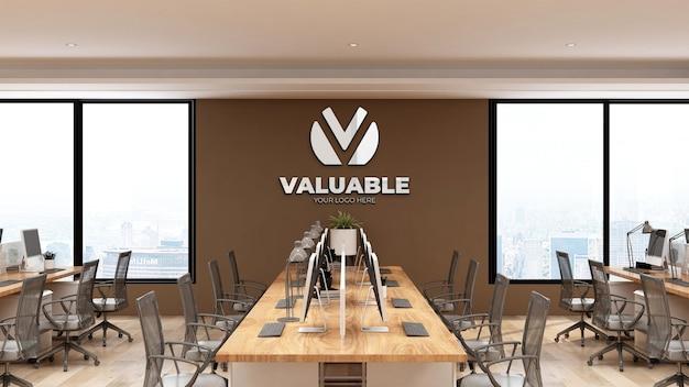 갈색 벽이 있는 현대적인 사무실 작업 공간의 3d 벽 로고 모형