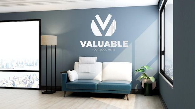 3d макет логотипа стены в зале ожидания холла офиса с видом на небо