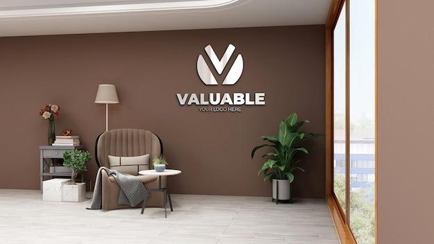3d-макет логотипа стены в офисе релакс-комнате