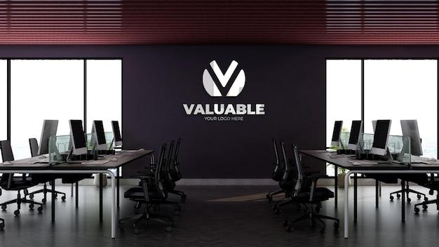 オフィスでの3d壁ロゴモックアップ