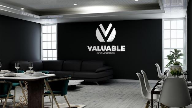 3d макет логотипа стены в кафе с диваном