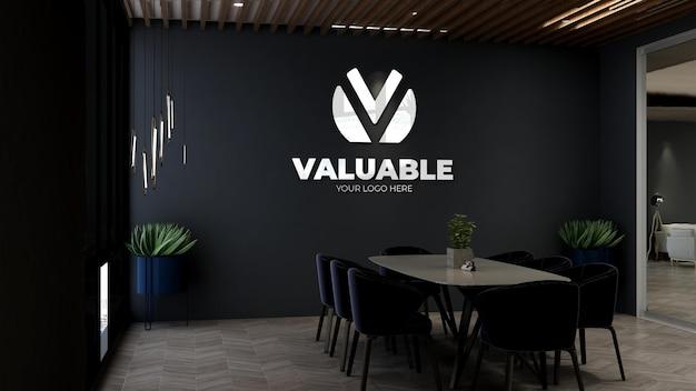 3d макет логотипа стены в современном офисе, конференц-зале
