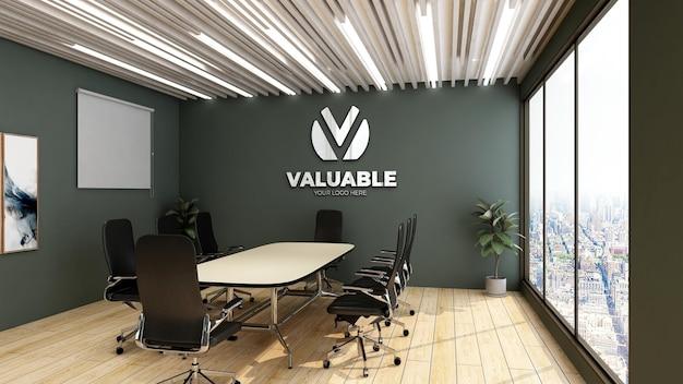 3d настенный макет логотипа в офисе, конференц-зале