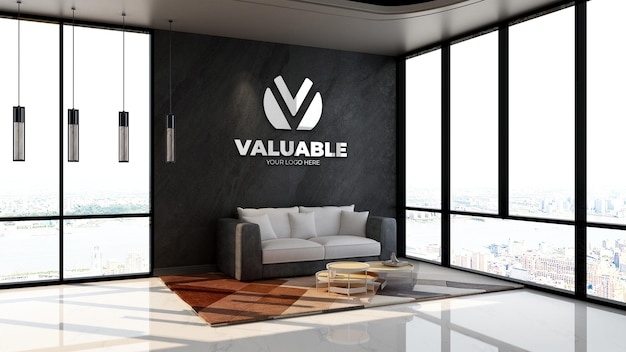 사무실 로비 대기실 또는 휴식실에서 3d 벽 로고 모형