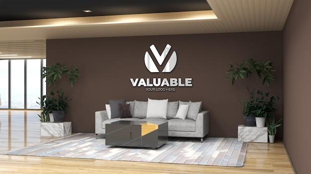 3d настенный макет логотипа в холле офиса в зале ожидания с диваном для отдыха