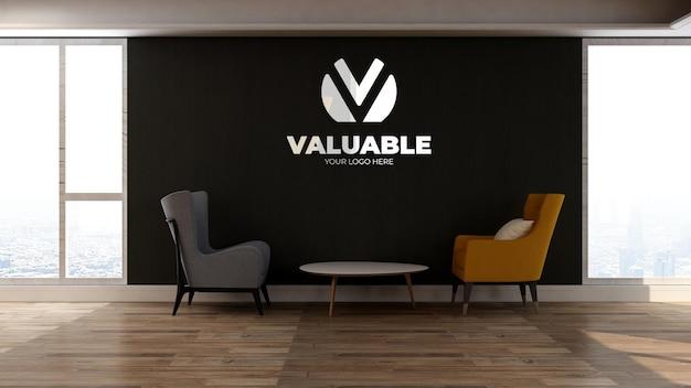 2개의 의자가 있는 사무실 로비 대기실의 3d 벽 로고 모형