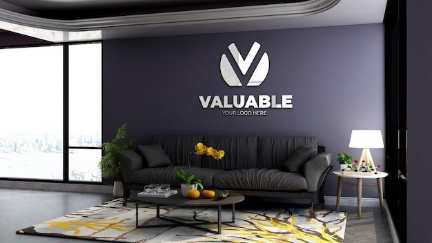 3d настенный макет логотипа в зале ожидания холла офиса