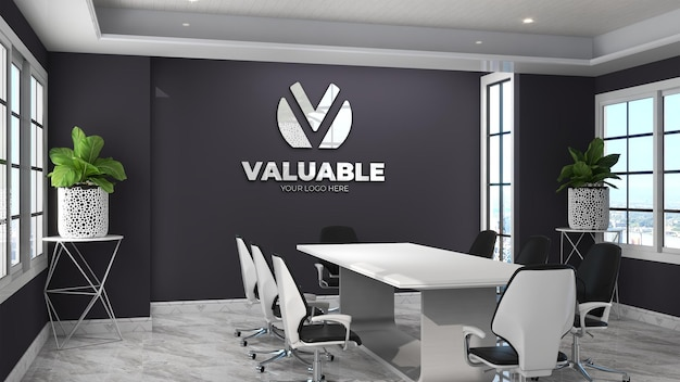 3d wall logo mockup in the modern office meeting room