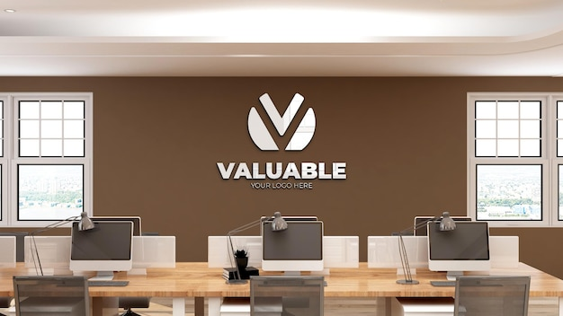3d wall logo mockup in modern office workspace with brown wall