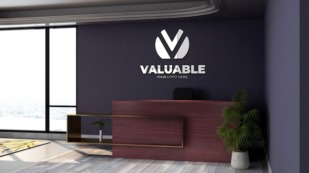 3d wall logo mockup in the office lobby waiting room