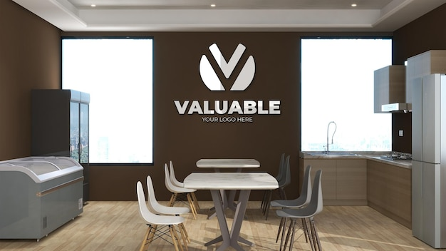 3d wall logo mockup in the office pantry room