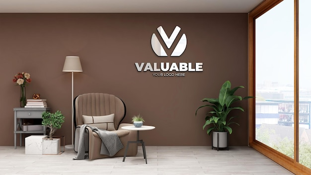 3d wall logo mockup in office relax room
