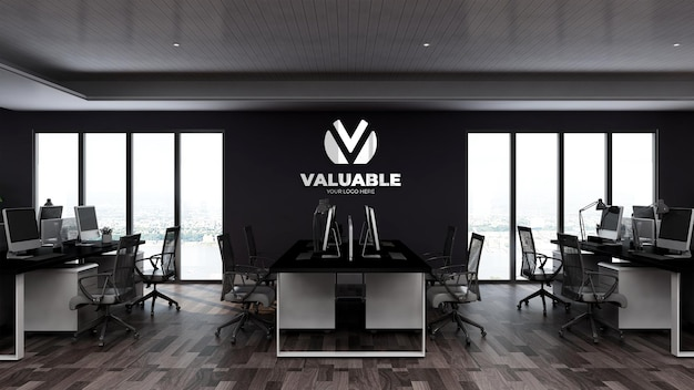 3d wall logo mockup in office workspace or workplace