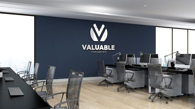 3d wall logo mockup realistic sign office workspace