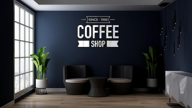 3d wall logo mockup in relaxing office or living room