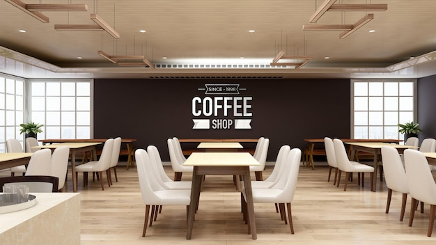 3d wall logo mockup in restaurant or coffee shop with wooden interior design