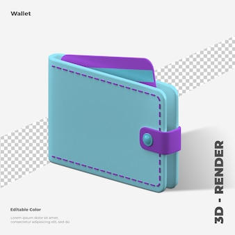 3d wallet icon rendering isolated