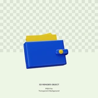 3d визуализация значка кошелька премиум psd