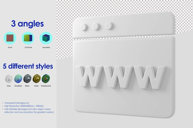 Значок концепции веб-сайта 3d