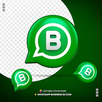 3d whatsapp business icon front isolated