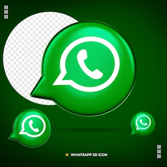 3d whatsapp icon front isolated
