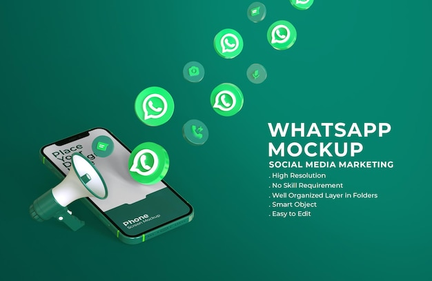 3d иконки whatsapp с макетом мобильного экрана и мегафоном