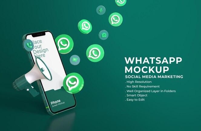 모바일 화면 모형 및 확성기와 3d whatsapp 아이콘