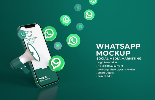 3d whatsapp icons with mobile screen mockup and megaphone