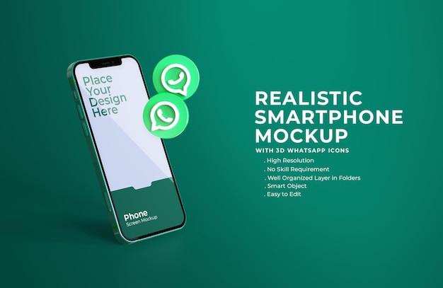 3d иконки whatsapp с макетом мобильного экрана