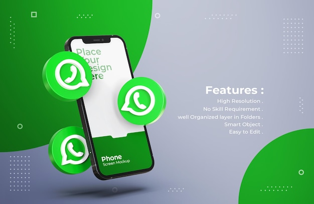 3d whatsapp icons with mobile screen mockup